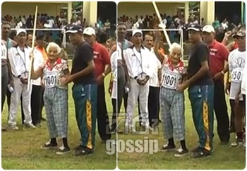 Oldest grand mother throws javelin throw